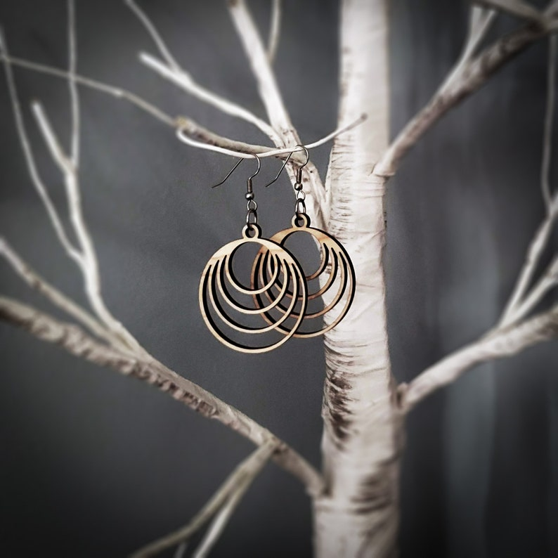 Coaxial/Nested Circles Earrings image 0