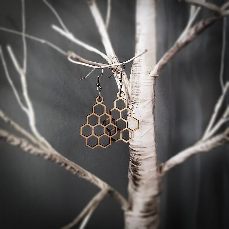 Medium Honeycomb Hexagonal Earrings image 0