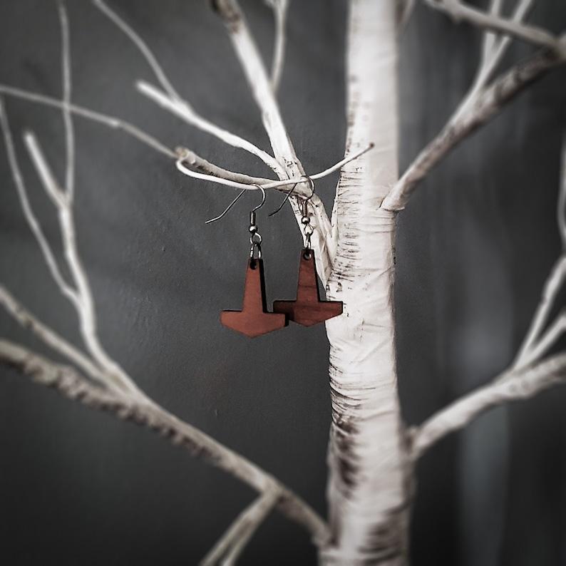 Small Thor's Hammer Earrings image 0