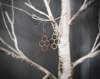 Small Honeycomb Hexagonal Earrings