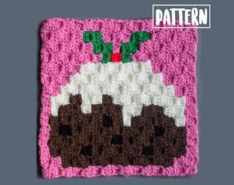 XMAS PUDDING C2C Crochet PDF Pattern | C2C Crochet Blanket | Graphgan