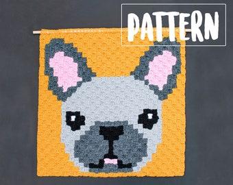 FRENCH BULLDOG C2C Wall Hanging Crochet Pattern / Corner to Corner Crochet / Graphgan