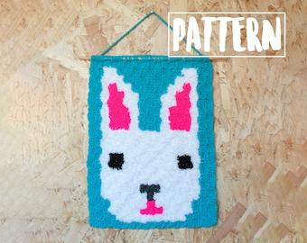 FLUFFY BUNNY C2C Wall Hanging Crochet Pattern / Corner to Corner Crochet / Graphgan