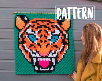 TIGER C2C CROCHET PATTERN / Corner to Corner Crochet / Graphgan