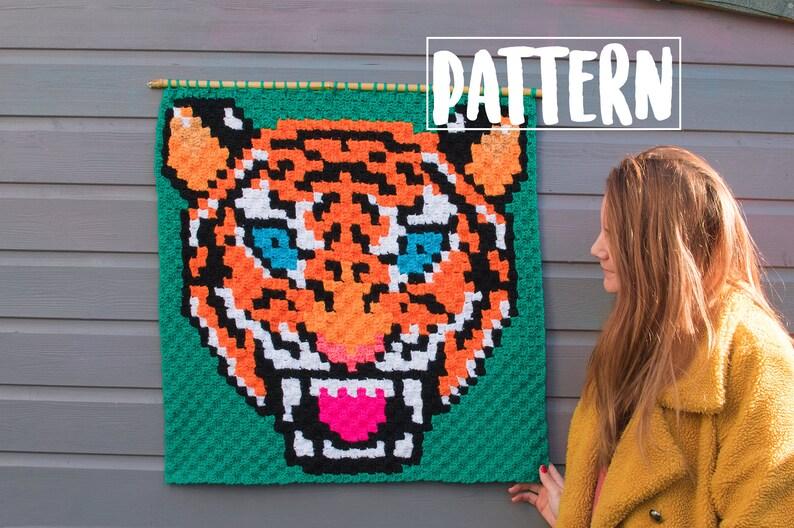 TIGER C2C CROCHET PATTERN / Corner to Corner Crochet / image 1