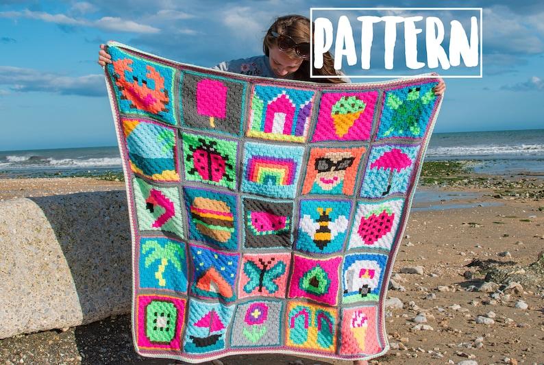SUMMER Themed C2C CROCHET Graphgan Blanket Pattern image 0