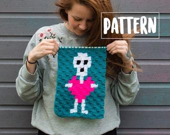 SKELETON With LOVE HEART C2C Wall Hanging Crochet Pattern / Corner to Corner Crochet / Graphgan