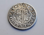 Rare Beautiful 2 reales coin silver Charles III shipwreck Spanish currency Pirate Treasure - 1761