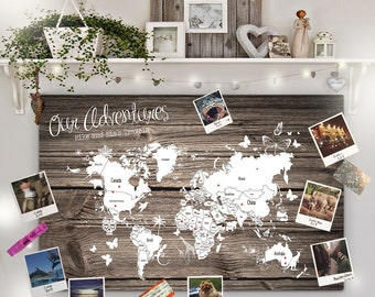 Travel pin board etsy personalised dark woodtravel world map pin cork board couples wedding gift valentines unique holiday girlfriend wedding decor home gumiabroncs Choice Image