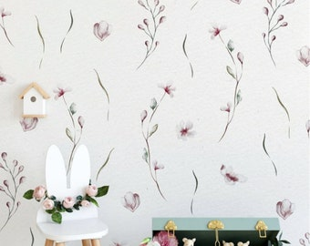 Peel and Stick Nursery Wallpaper eucalyptus Watercolour Flower Peach and Pink Flowers - FLORAL WATERCOLOUR PATTERN