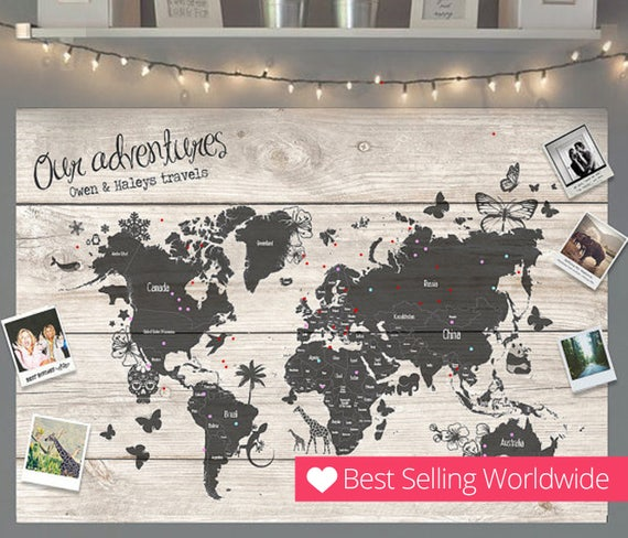 Personalised travel world map pin cork board couples wedding etsy image 0 gumiabroncs