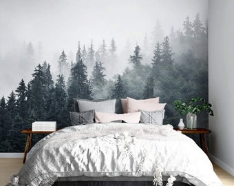 Misty Forest Wall Mural, Removable Wallpaper, Peel And Stick, Wall Covering, Repositionable, Self adhesive, Wall Decor, Reusable