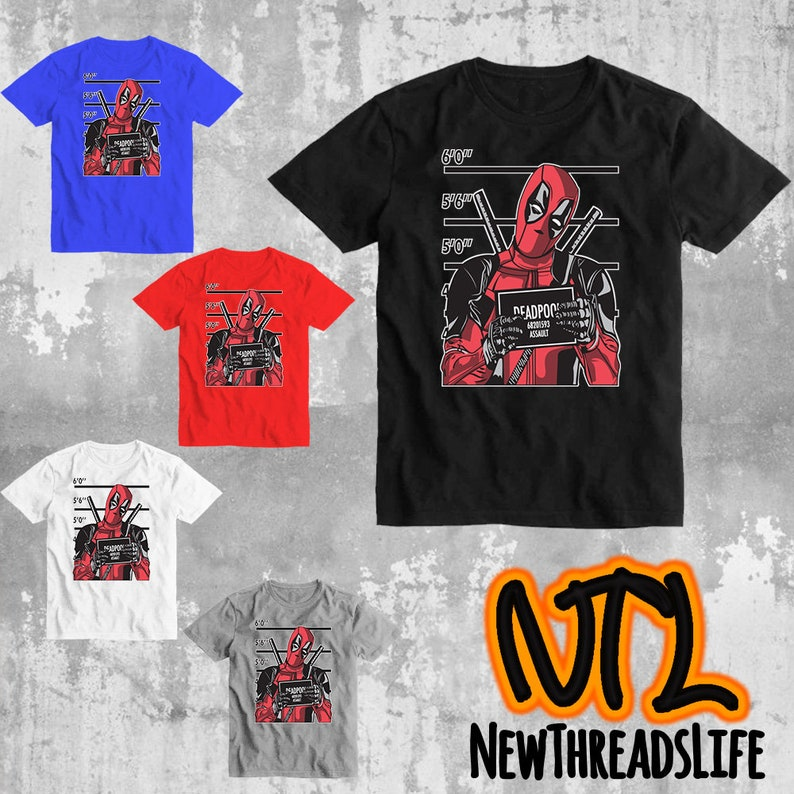 2c52788b Marvel Deadpool T-shirt designs Marvel Superhero Tee Shirt | Etsy
