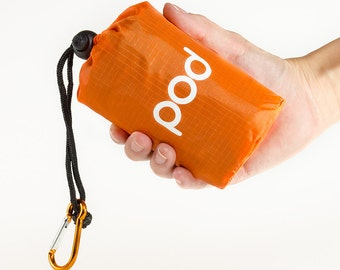 """Orange Pod Adventure Pocket Blanket 63x44"""", Lightweight, Waterproof, with Pouch/Carabiner, Great for Hiking, Camping, Beach, Picnic, Outdoor"""
