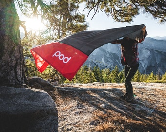 """Red Pod Adventure Pocket Blanket 63x44"""", Lightweight, Waterproof, with Pouch/Carabiner, Great for Hiking, Camping, Beach, Picnic, Outdoor"""