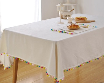White linen tablecloth with rainbow tassel, Colour Tassel tablecloth, Christmas table decoration, table cover