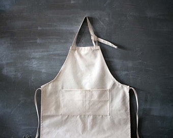 Basic Art Canvas Apron detachable Sleeves, Art Unbleached Apron with sleeves or cuffs, Full Size, Plain white, for arts and crafts