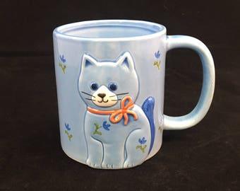 Vintage Otagiri Kitten Cat 3 D Raised Relief Mug Japan Coffee or Tea