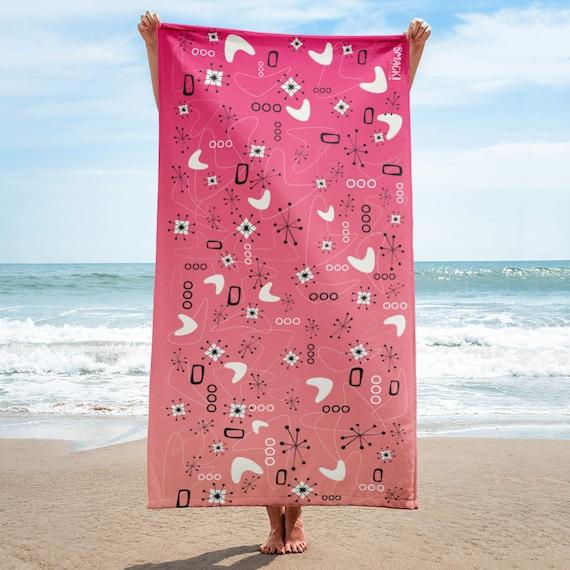 Mid Century Sunrise beach blanket towel