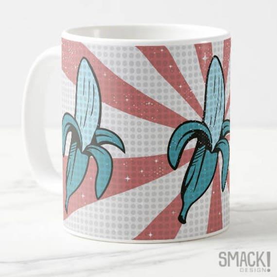 Mug 'Peeling Good' Banana 60s pop blue pink