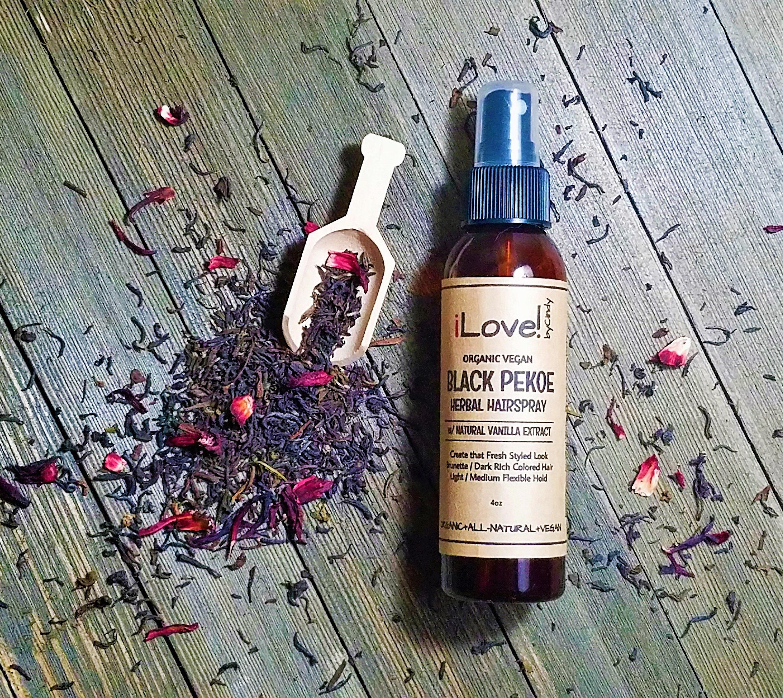 Black Pekoe Herbal Hairspray For Brunettesdark Hair Organic Vegan