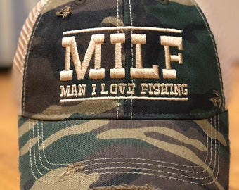 1c300f5073d48 MILF Camo Vintage Distressed Dirty Mesh Snapback