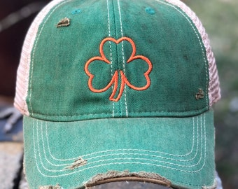 8882df7309e8f Vintage Distressed Green Irish Clover Dirty Mesh Snapback Hat