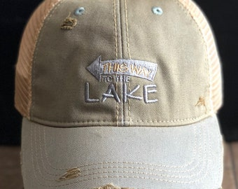 4a3af12b8fa Vintage Distressed Sky Blue This Way to the Lake Dirty Mesh Snapback Hat