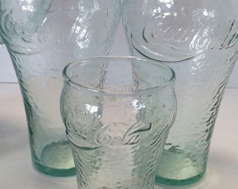 Coca Cola Green Pebbled/Textured Pitcher 64oz with 2 16oz Glasses and 1 6oz Glass (set)
