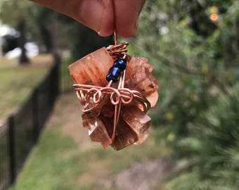 Aragonite crystal charm necklace wire wrapped