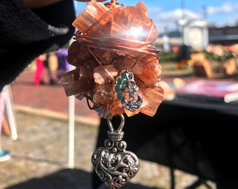 Aragonite crystal car charm or necklace