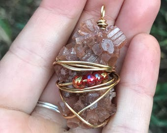 aragonite crystal wire wrapped necklace