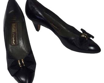 Vintage Bally Black Bow Heels