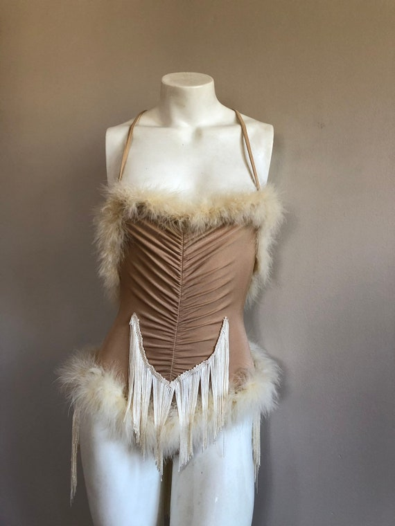 1930s-40's style marabou showgirl costume