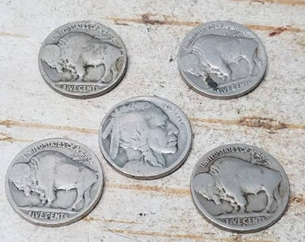 Lot of 5 Buffalo Nickels, Indian Head Nickels, Five Cent Piece, 1913 to 1938, United States Currency, Old Coins, Five Nickels, Old Money