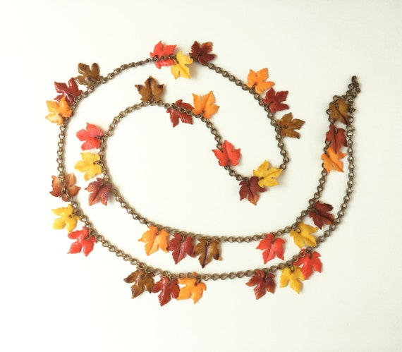 Vintage Autumn Leaves Necklace, 1940s Fall Leaf ne