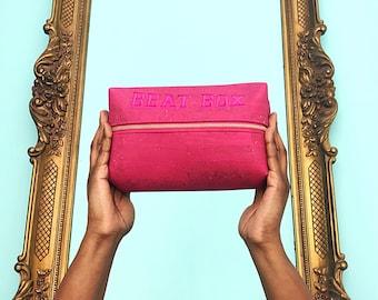 Pink Cork Cosmetic Bag| Vegan Toiletry Bag| Water Resistant Makeup Bag| Travel Bag| Makeup Bag| Cork Toiletry Bag