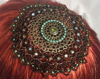 Beaded Kippah, Beaded Kippot, Womens Kippah, Womens Yarmulke, Kippa, Head Covering, Brown and Green Glass Beads with Metal Charm
