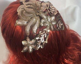 Gold Kippah, Kippot, Womens Kippah, Womens Yarmulke, Kippa, Head Covering, Gold Sequins Floral