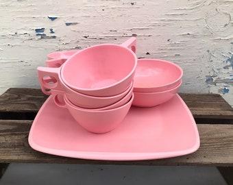 Pastel Pink Melmac Dinnerware Vintage 1950u0027s Mid Century Harmony House Melmac Dinnerware Set Melamine Plastic Pink Melmac Bowls Plate Cups & Melmac dinnerware set | Etsy