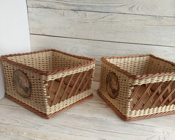 Charmant Wicker Basket Potato Onion Bin Vegetable Storage Bin Onion | Etsy