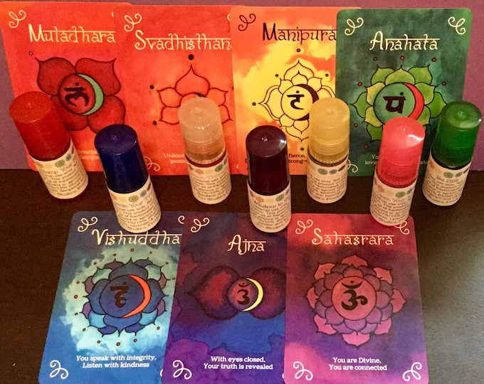 Chakra Starter Set - Roll-ons/ Mind Body and Spirit / Chakra Balance Oils / Energy Healing Oils