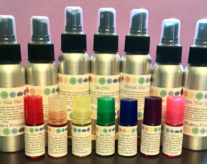 Chakra & Smudge Mists and Roll-on Set / Mind Body and Spirit / Chakra Balance Oils /Energy Healing Spray