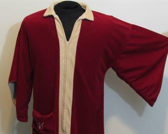Vintage JC Penney Women s Loungewear Robe Red Beige Kimono Sleeves Zipper  Cover 44b7774ba