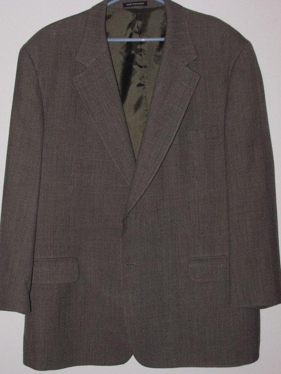 Savile Row Macy's Men's Jacket Single Vent 100% Wool Brown Nailhead