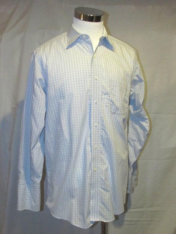 Men s Brooks Brothers Blue White Box Stripe French Cuffs  9256b6b50
