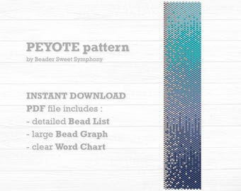 Peyote Bracelet Pattern - Blue Fade and Silver