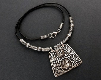 Boho Jewelry, Leather Jewelry, Silver Pendant, Long Necklace, Statement Jewelry, Festival, Gifts Under 50, Gifts for Her, Patterned Pendant