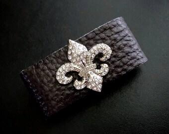 Statement Jewelry, Wide Band Bracelet, Fleur de Lis Cuff, Cuff Bracelet, Western Jewelry, Concho Bracelets, Wide Cuff, Leather Bracelets