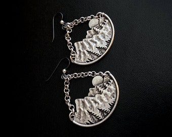 Boho Jewelry, Nature Jewelry, Hippie Chic, Unique Earrings, Silver Dangles, Chunky Earrings, Silver Earrings, Under 50, Gifts For Her